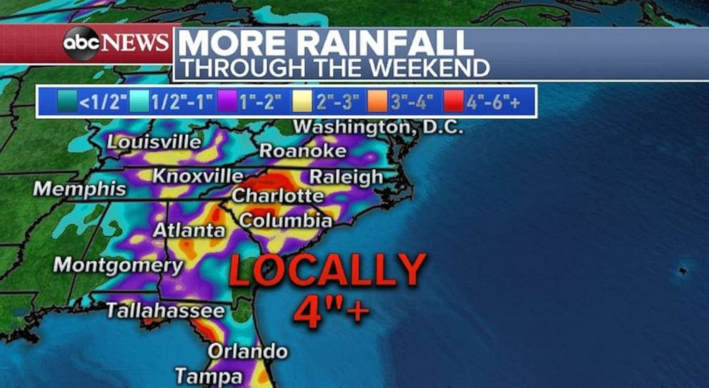 PHOTO: Four inches of rain or more are possible across the Southeast through the weekend.