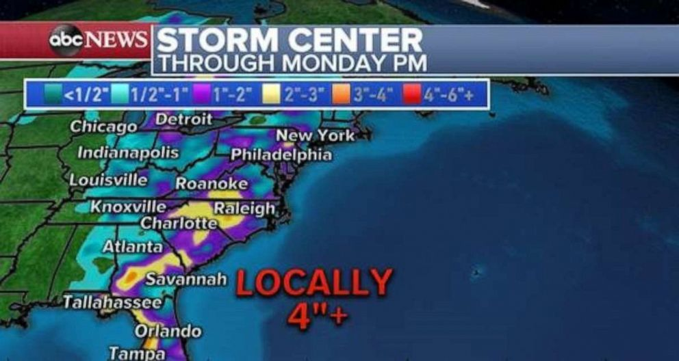 PHOTO: Parts of he Carolinas and Georgia could see 4 inches of rain or more through Monday night.