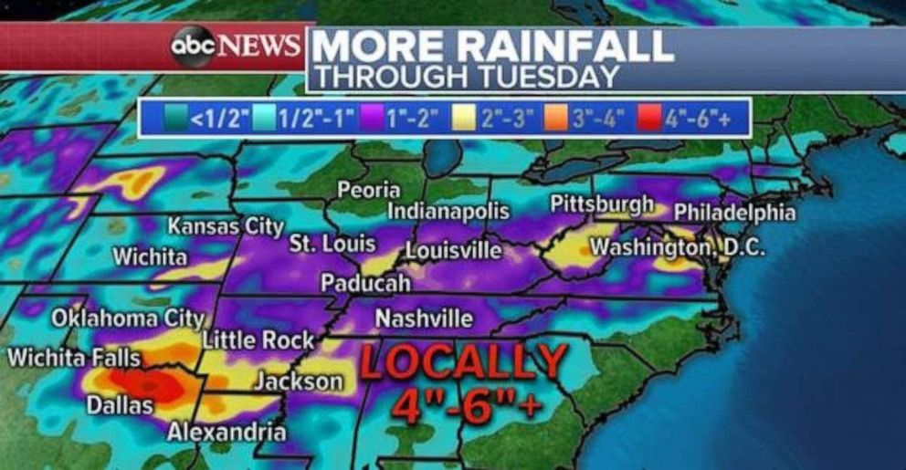 PHOTO: Rainfall totals could be half a foot or more locally in parts of northeast Texas through Tuesday.