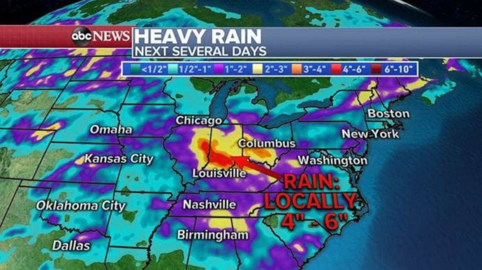 PHOTO: Rainfall will be heaviest over the next few days in parts of southern Indiana and Ohio.