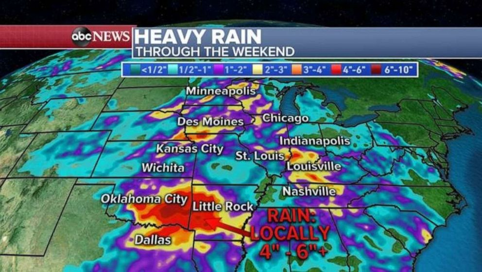 PHOTO: Heavy rainfall is likely to accumulate in Oklahoma and Arkansas over the weekend.