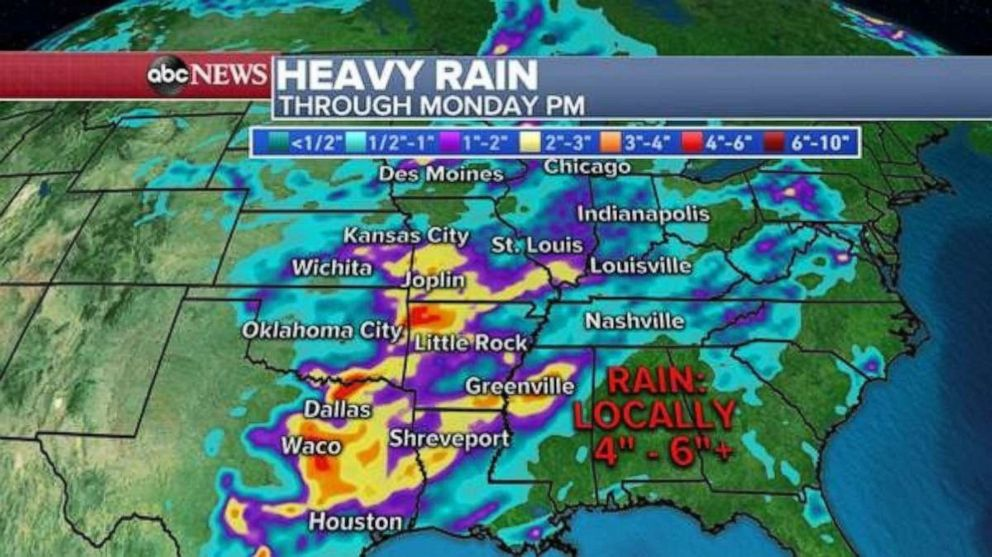 PHOTO: Rainfall totals could be 4 to 6 inches in parts of eastern Texas and northwest Arkansas through Monday.