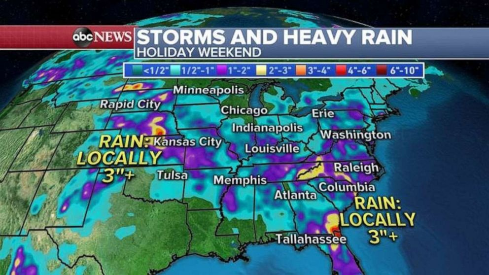 PHOTO: The heaviest rain will fall in the Plains and the Southeast over the weekend.