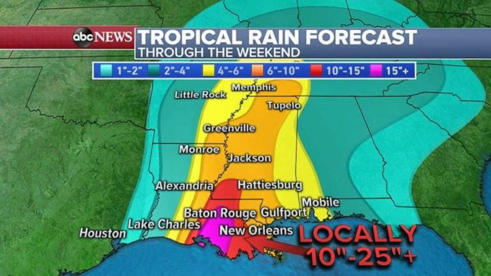 PHOTO: As much as 2 feet of rain is possible in parts of Louisiana, with double-digit totals extending up through Mississippi.