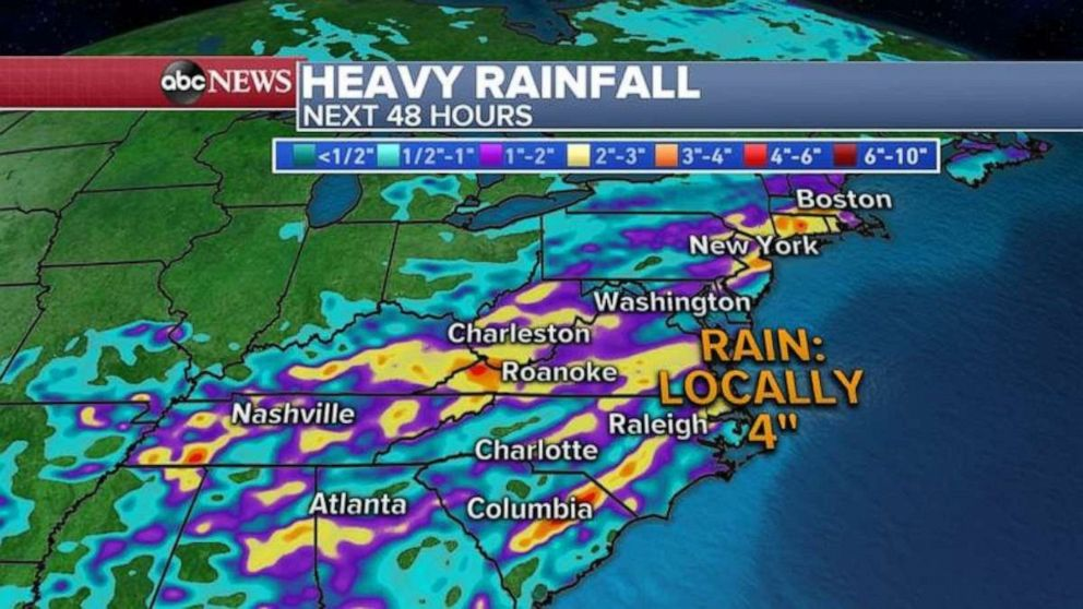 PHOTO: Heavy rainfall in the Mid-Atlantic could cause flash flooding in some spots.
