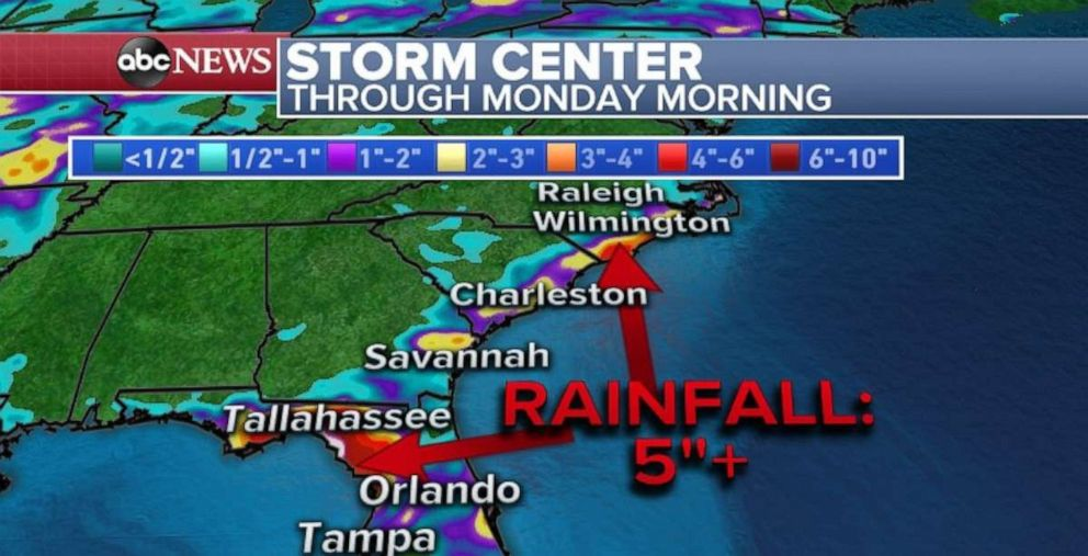 PHOTO: Rainfall could top 5 inches in parts of Florida and the Carolinas through Monday.