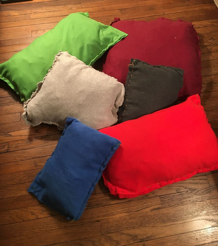 PHOTO: Homemade pillows made by Gio Dargaj, 10, for the homeless shelter in his neighborhood are photographed here.