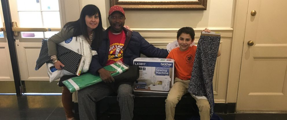 PHOTO: Cortney Dargaj and her son Gio Dargaj, 10, received a sewing machine from Ricky Smith to help with Gios project of making pillows for the homeless.