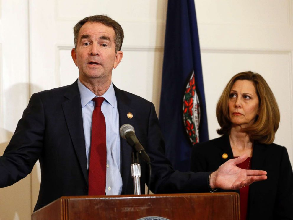 PHOTO: Virginia Gov. Ralph Northam, left, accompanied by his wife, Pam, speaks during a news conference in the governors mansion in Richmond, Va.
