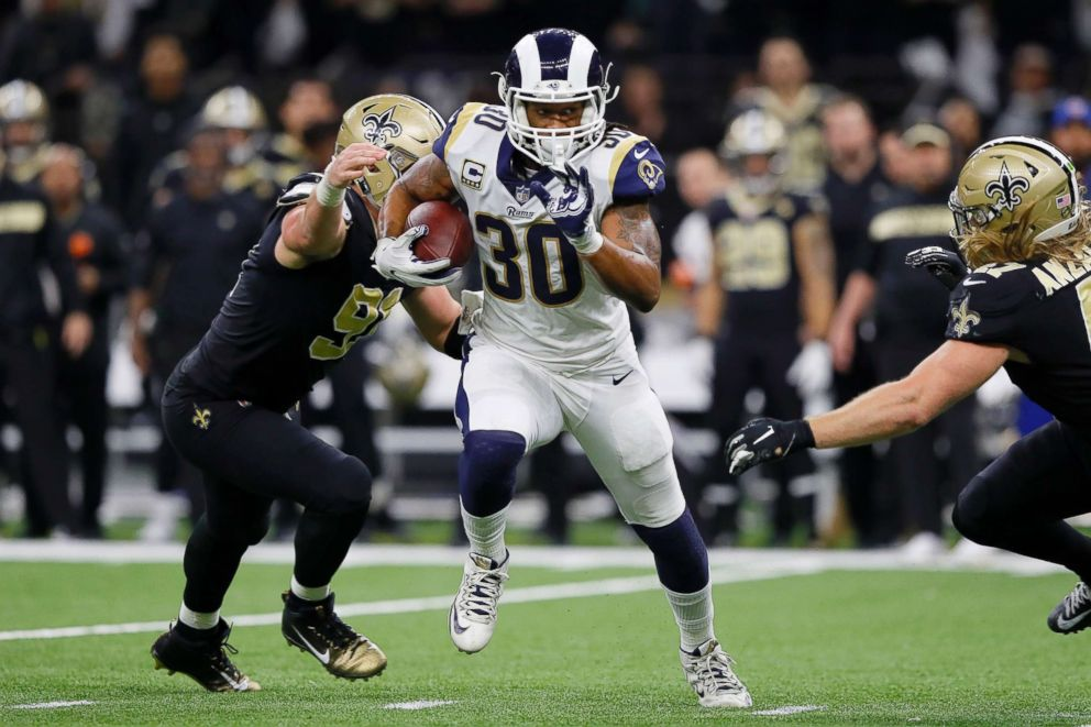PHOTO: Todd Gurley #30 of the Los Angeles Rams runs the ball against the New Orleans Saints during the fourth quarter in the NFC Championship game at the Mercedes-Benz Superdome, Jan. 20, 2019, in New Orleans.