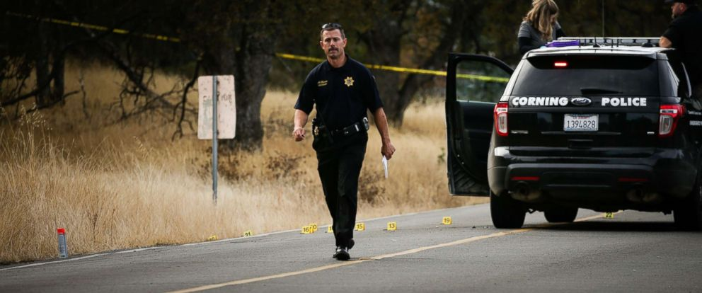 PHOTO: A law enforcement officer is seen at one of many crime scenes after a shooting on Nov. 14, 2017, in Rancho Tehama, Calif.