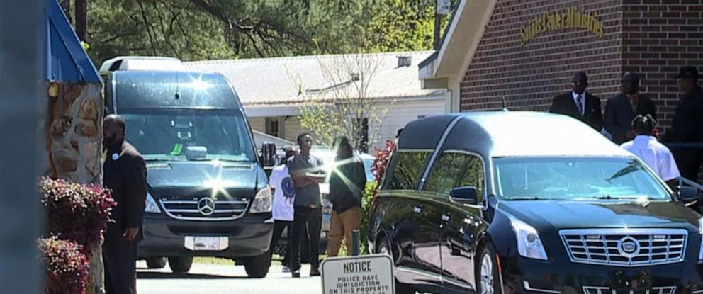 PHOTO: People gather outside prior to the funeral service for Raniya Wright, 10, a fifth-grader at Forest Hills Elementary School in Walterboro, South Carolina, who died March 27 after a fight with a classmate.