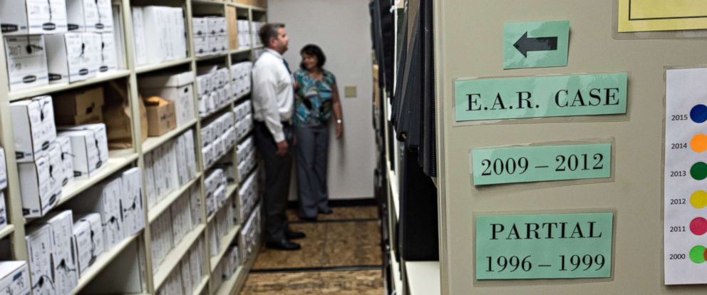 "PHOTO: An evidence room from the ""Golden State Killer"" investigation."