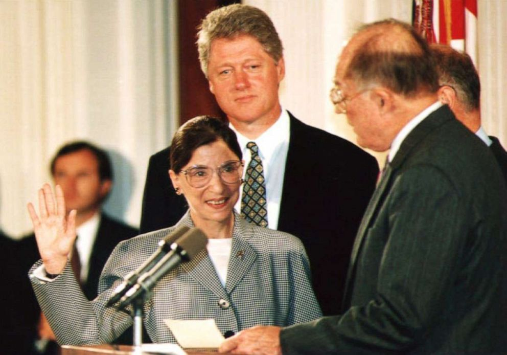 PHOTO: Chief Justice of the U.S. Supreme Court William Rehnquist administers the oath of office to newly-appointed U.S. Supreme Court Justice Ruth Bader Ginsburg as President Bill Clinton looks on, Aug. 10, 1993.