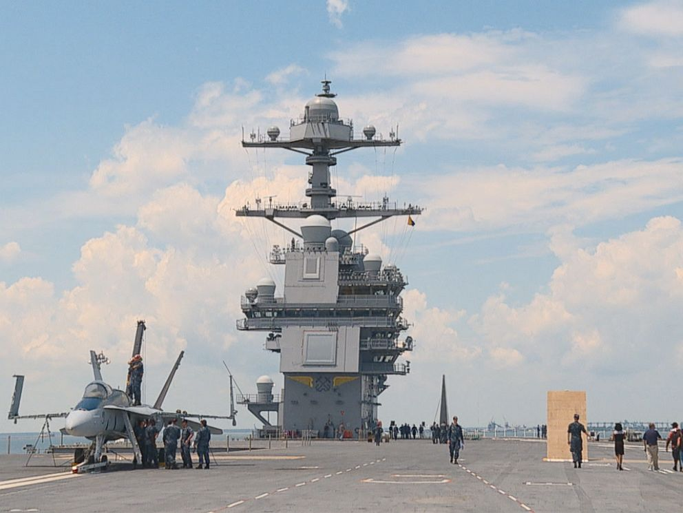 PHOTO: On the flight deck of the U.S.S. Gerald R. Ford, a new aircraft carrier with a 21st-century design and a big price tag.