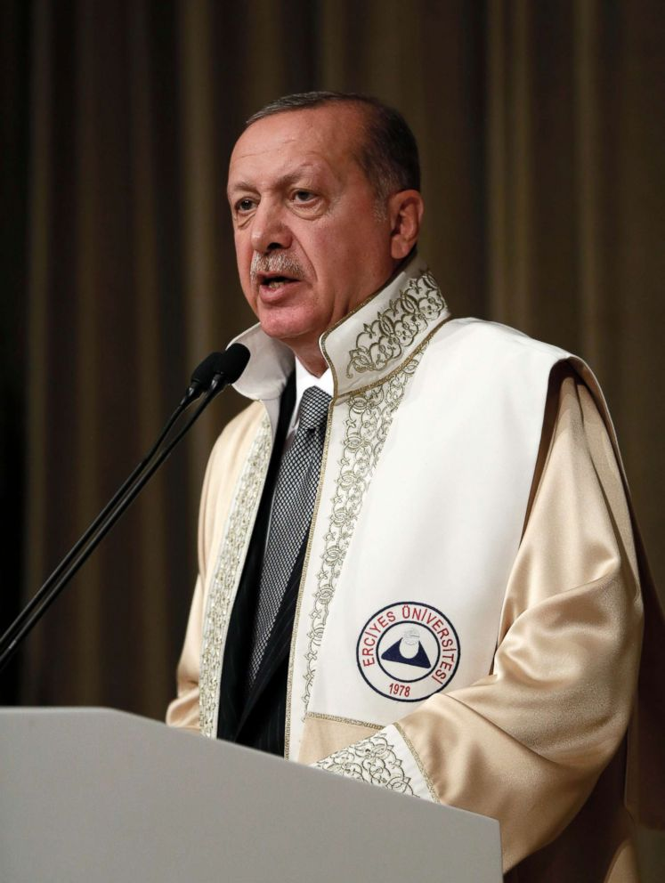 PHOTO: Turkeys President Recep Tayyip Erdogan speaks after receiving an honorary doctorate from the Erciyes University, in Kayseri, Turkey, Oct. 13, 2018.