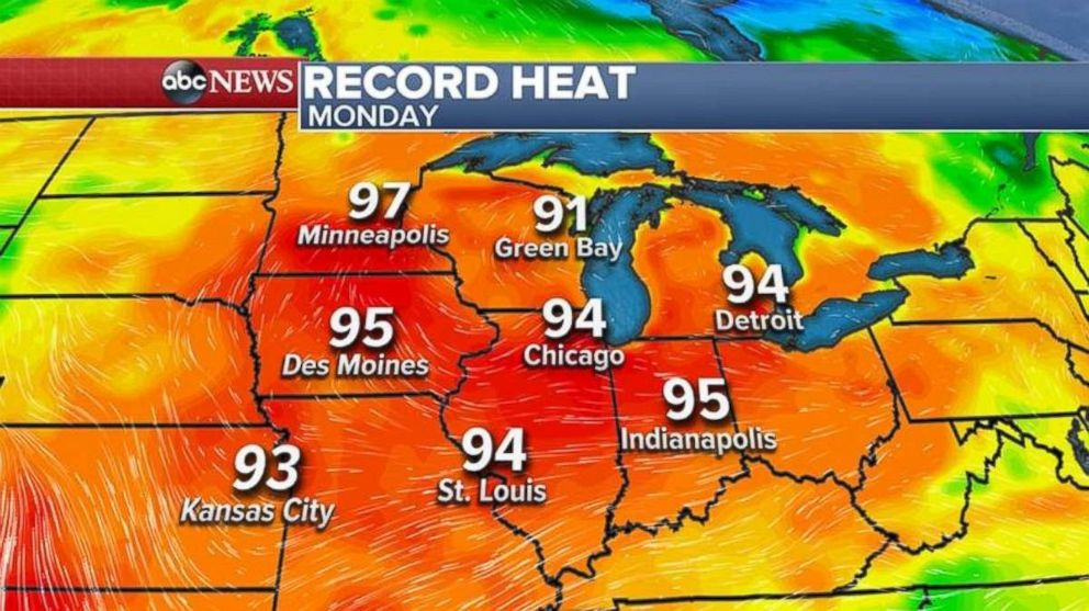More record temperatures could fall in the Midwest and Great Lakes on Monday.