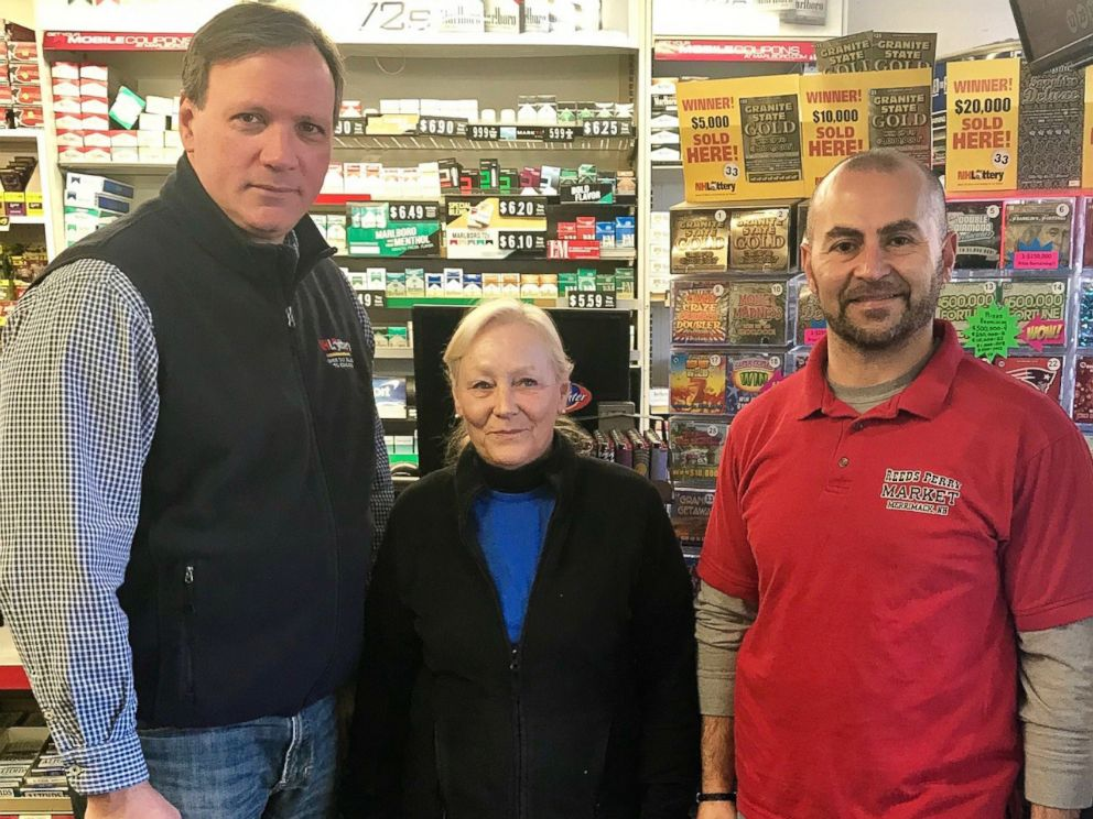 PHOTO: Pictured (L-R) are Charlie McIntyre, executive director of the New Hampshire Lottery, Kathy Robinson, clerk, Reeds Ferry Market and Sam Safa, owner, Reeds Ferry Market.