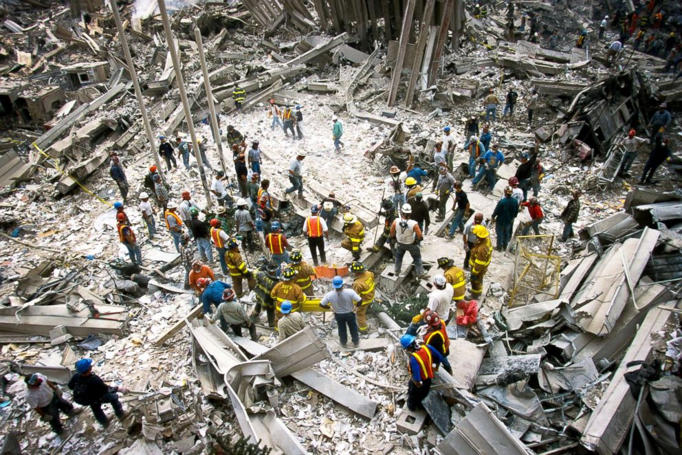 PHOTO: The rubble of the World Trade Center smoulders following a terrorist attack on Sept. 11, 2001, in New York.