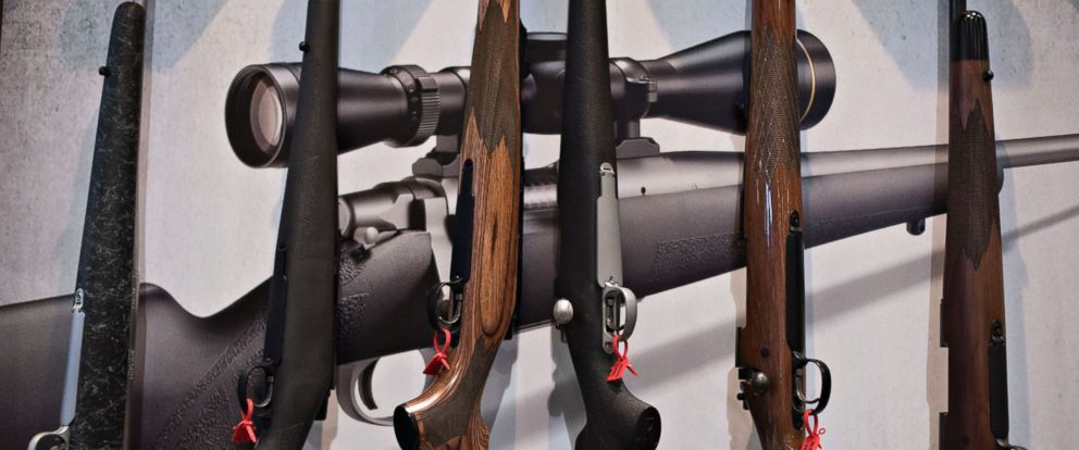 PHOTO: Bolt action rifles sit on display in the Remington Arms Co. LLC booth on the exhibition floor of the 144th National Rifle Association (NRA) Annual Meetings and Exhibits at the Music City Center in Nashville, April 11, 2015.
