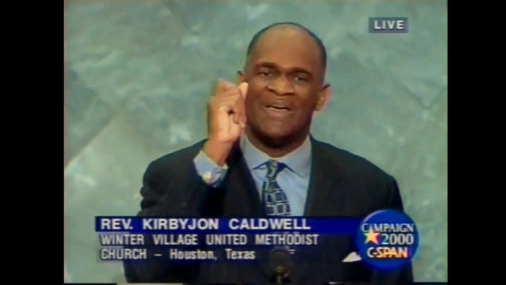 Pastor Kirbyjon Caldwell is seen speaking at the 2000 Republican National Convention on behalf of then-Gov. George W. Bush, Aug. 3, 2000 in Philadelphia.
