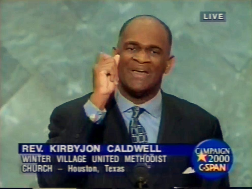 PHOTO: Pastor Kirbyjon Caldwell is seen speaking at the 2000 Republican National Convention on behalf of then-Gov. George W. Bush, Aug. 3, 2000 in Philadelphia.