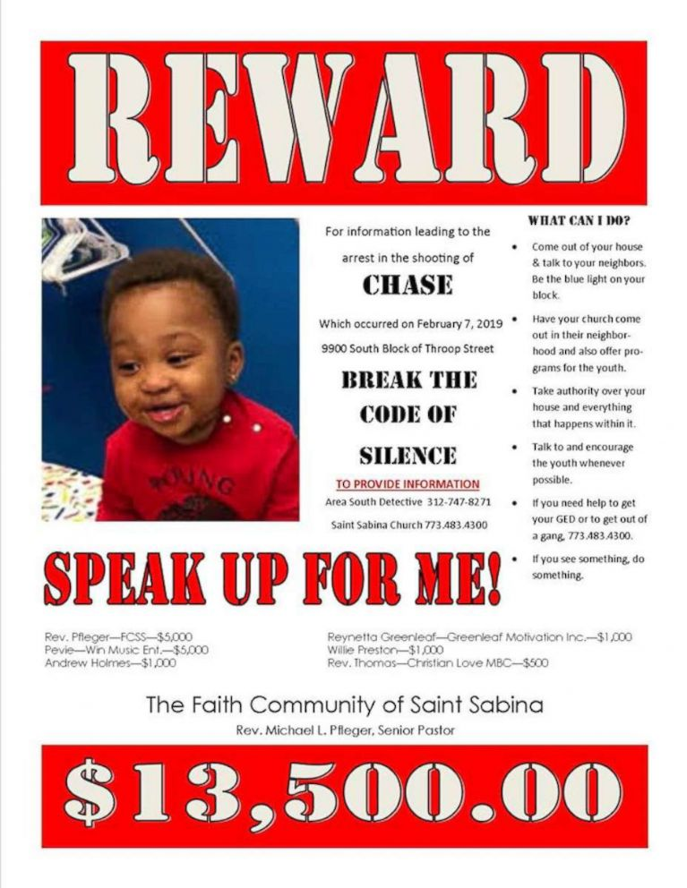 An image posted to Rev. Michael Pflager's Facebook account announcing the award for information in the shooting of a 1-year-old in Chicago.