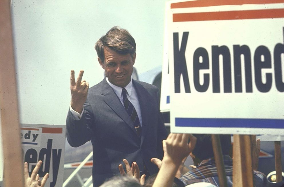 PHOTO: Presidential contender Bobby Kennedy campaigning, 1968.