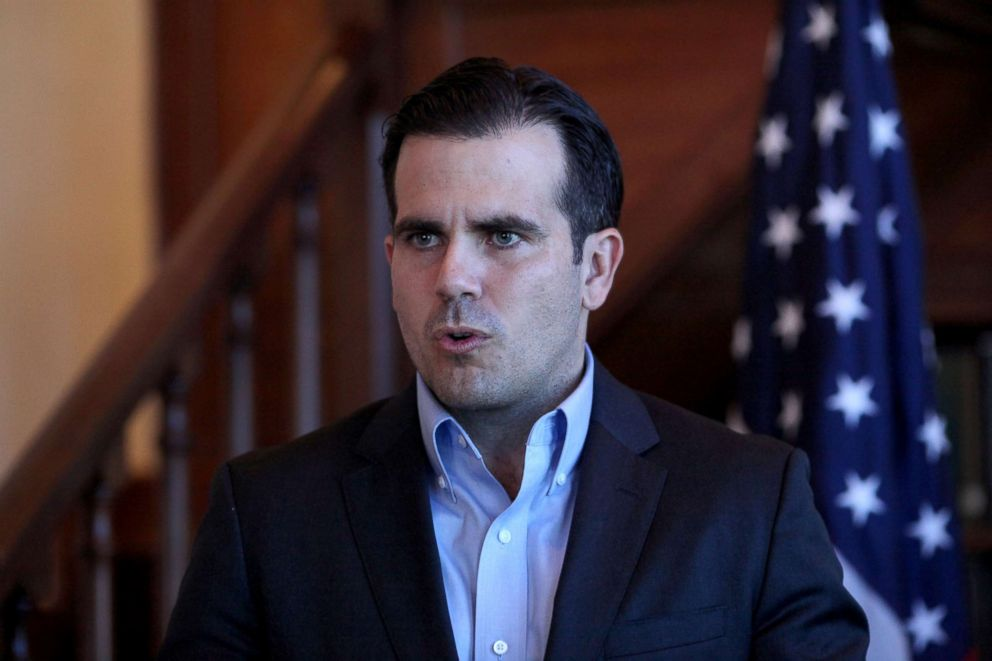 PHOTO: Puerto Rico Governor Ricardo Rossello speaks during a Facebook live broadcast in the library of the governors mansion in San Juan, Puerto Rico, Jan. 24, 2018.