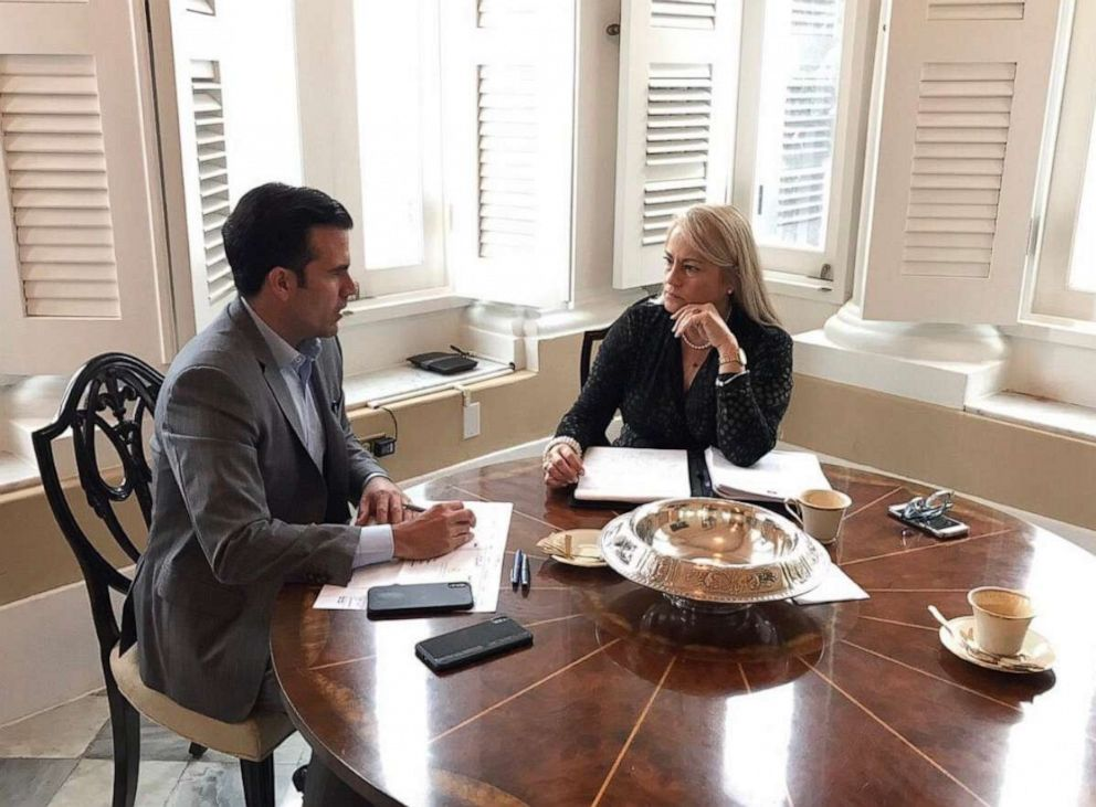 PHOTO: Governor Ricardo Rossello meeting with Justice Secretary Wanda Vazquez regarding transition on July 26.