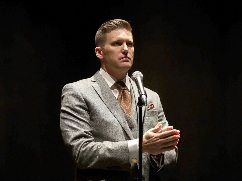 PHOTO: White nationalist Richard Spencer, who popularized the term alt-right speaks during a press conference at the Curtis M. Phillips Center for the Performing Arts, Oct. 19, 2017, in Gainesville, Fla.