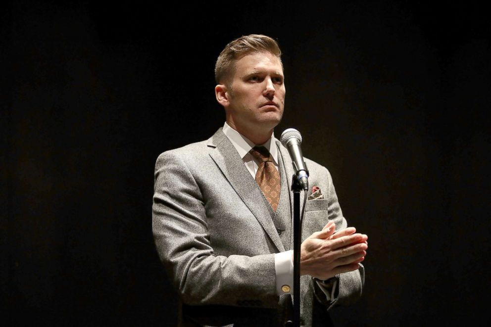 PHOTO: White nationalist Richard Spencer, who popularized the term alt-right speaks during a press conference on Oct. 19, 2017, in Gainesville, Fla.