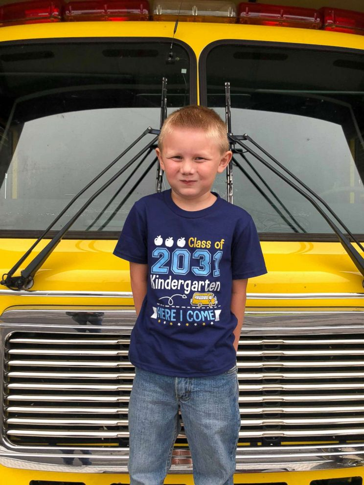 PHOTO: Cooper Brooks, 5, rode a fire truck to his first day of kindergarten just as his late father, fireman Christopher Brooks, wanted.