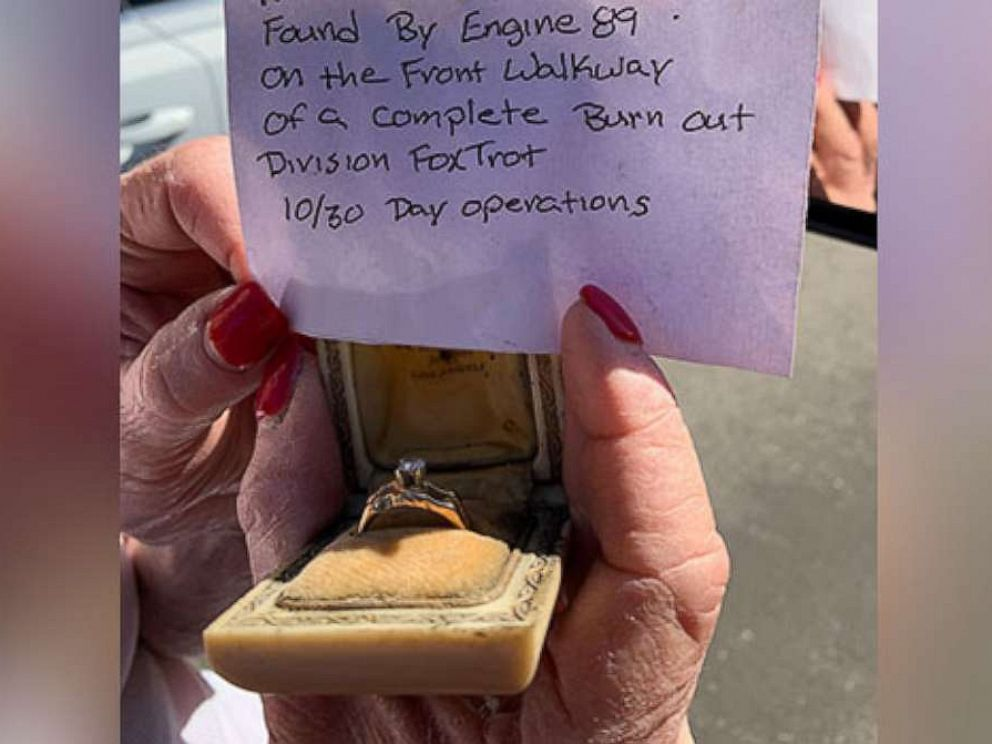 PHOTO: The Los Angeles Fire Department found a ring in a burned-out home following the Getty Fire on Oct. 30, 2019. It turns out the same ring had survived the 1961 Bel Air Fire and was reunited with its owner.