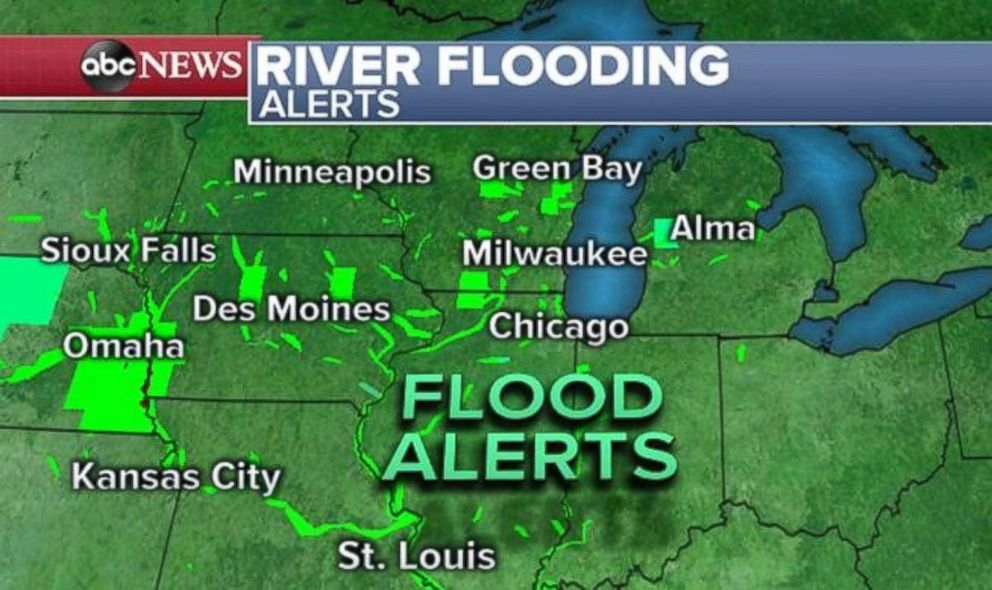 PHOTO: Flood alerts are in place across the Plains and Upper Midwest due to swollen rivers.