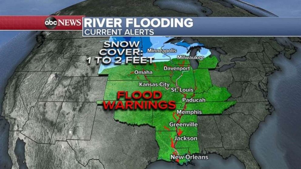 PHOTO: Flood warnings are in place along the Mississippi River from Minnesota down to the Gulf Coast.