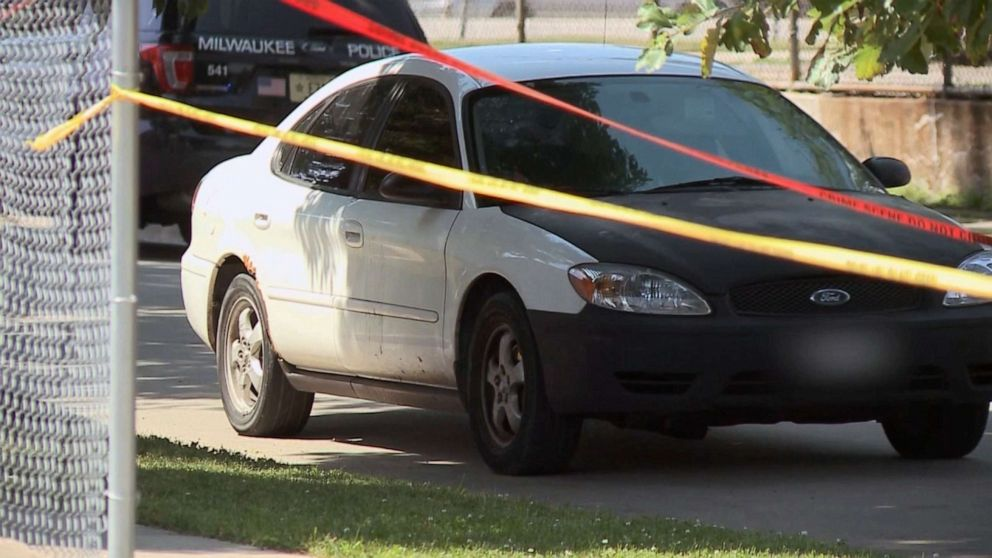 PHOTO: Crime scene tape surrounds a car police say 3-year-old Brooklyn Harris was riding in when she was shot to death during an apparent road-rage incident in Milwaukee on July 13, 2019.