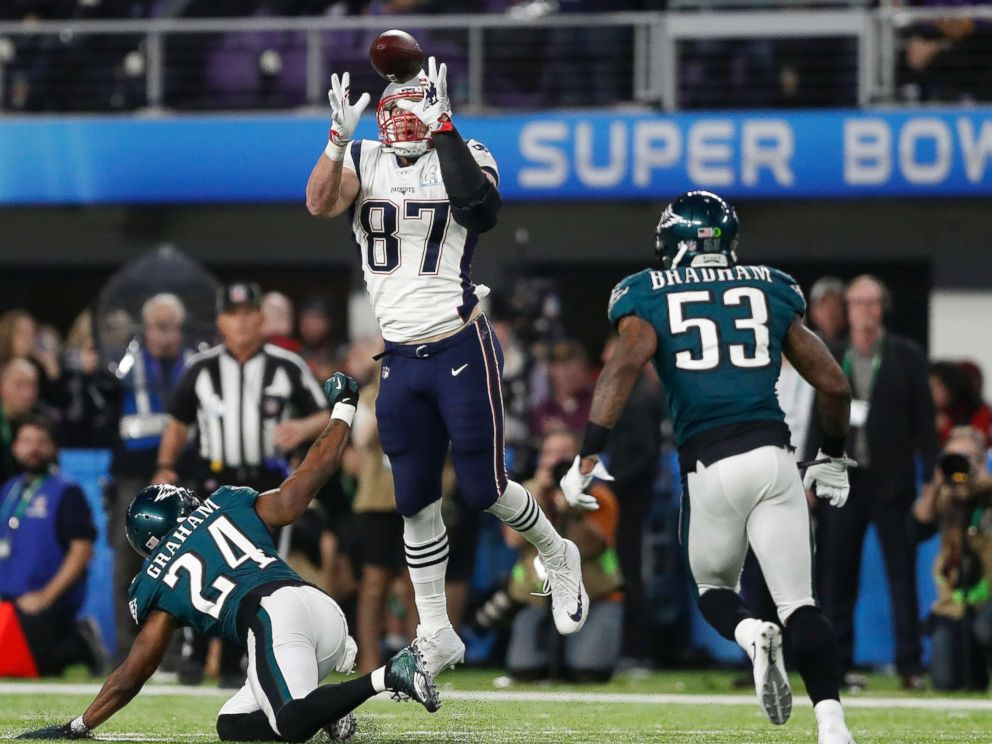 PHOTO: New England Patriots Rob Gronkowski catches a pass during the second half of the NFL Super Bowl 52 football game against the Philadelphia Eagles, Feb. 4, 2018, in Minneapolis.