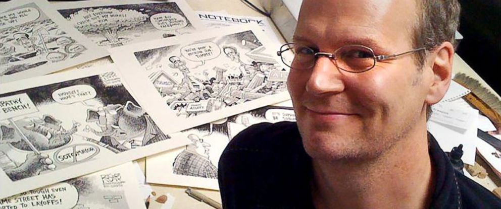 PHOTO: Cartoonist Rob Rogers poses for a photo in his studio in Pittsburgh, 2009.