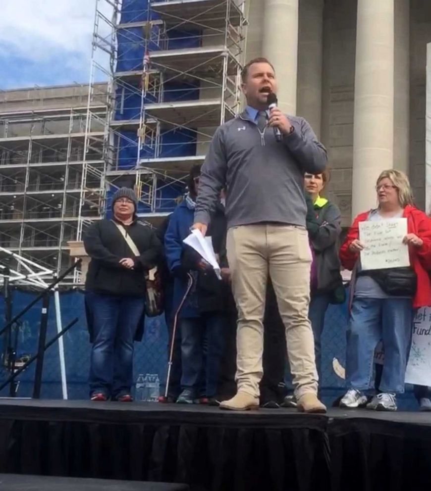 PHOTO: High school teacher Rob Davis, 39, seen on April 3 speaking at a teachers rally at the Oklahoma state capitol.