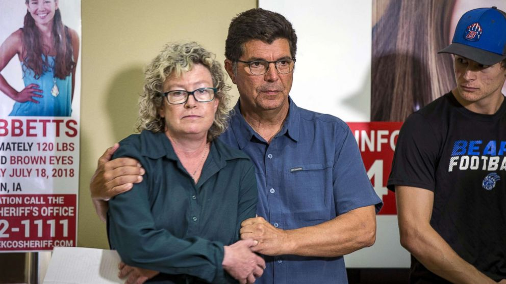 """Laura Calderwood and Rob Tibbetts, the parents of missing of Iowa student Mollie Tibbetts, hold each other during a press conference for the """"Bring Mollie Tibbetts Home Safe"""" reward fund in Brooklyn, Iowa, Aug. 2, 2018."""