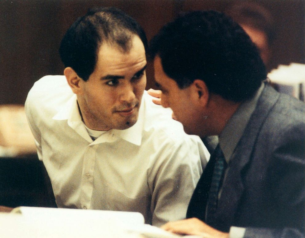 Robert Bardo speaks with his lawyer after being found guilty of premeditated murder of actress Rebecca Schaeffer, Oct. 29, 1991, in Los Angeles.