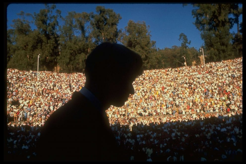 PHOTO: Robert F. Kennedy (silhouetted) speaks at U.C. Berkeleys Greek Theatre on behalf of Gov. Edmund G. Brown, Oct. 1, 1966.