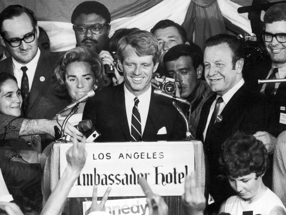 PHOTO: Sen. Robert Kennedy addressing a crowd from a stage with his wife Ethel moments before Kennedys assassination, Ambassador Hotel in Los Angeles, June 5, 1968.