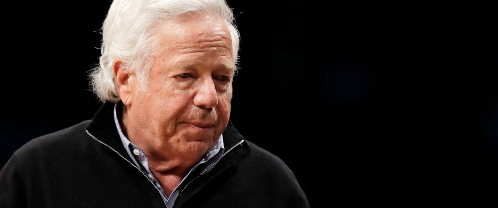 PHOTO: New England Patriots owner Robert Kraft leaves his seat during an NBA basketball game in New York, April 10, 2019.