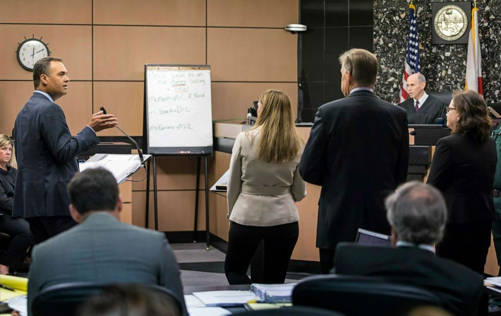 PHOTO: William Burck, left, one of during New England Patriots owner Robert Krafts attorneys, speaks during a hearing in Krafts prostitution solicitation case, April 12, 2019, in West Palm Beach, Fla.