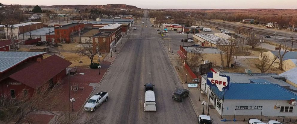 """PHOTO: The small town of Miami has one stoplight, which flashes red on one side and flashes yellow on another. Part of the Texas panhandle, Miami is in Roberts County, the most """"pro-Trump county in America."""""""
