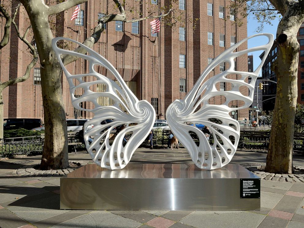 PHOTO: A view of the sculpture by Rubem Robierb dedicated to the transgender GNC community In NYCs Tribeca Park, Nov. 4, 2019, in New York City.