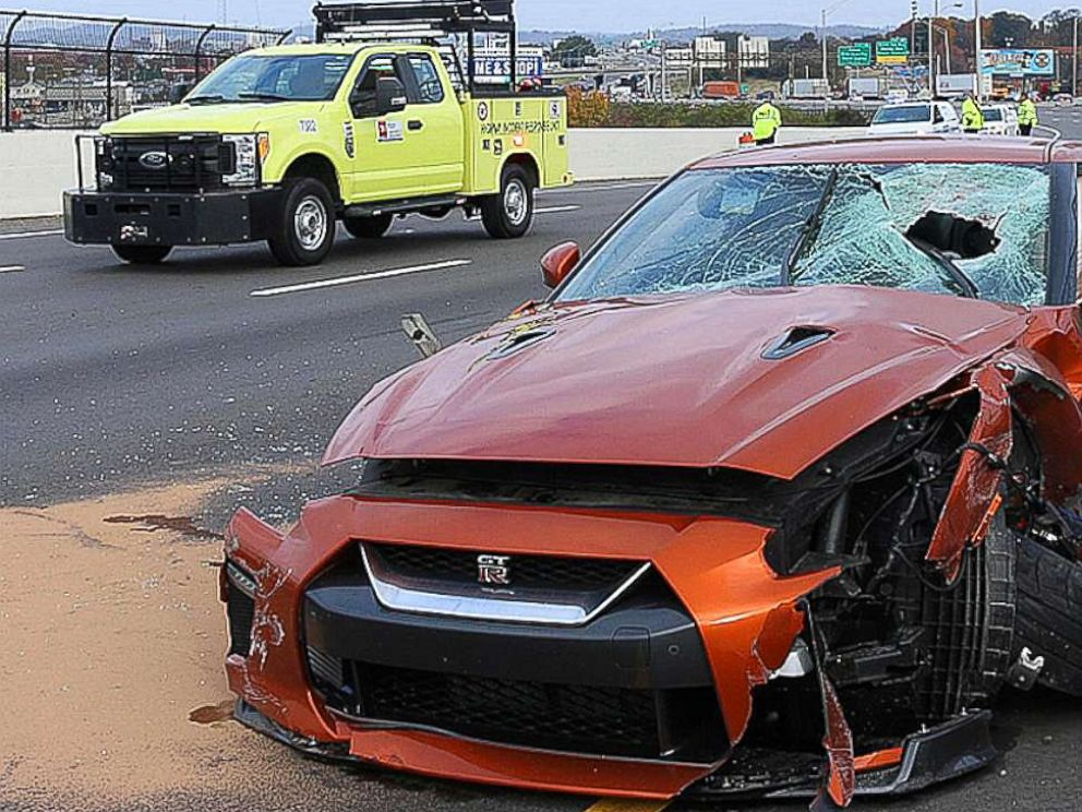 PHOTO: In this photo released by the Nashville Police, a vehicle is seen damaged after a large piece of concrete entered the vehicle on Interstate 24, Tuesday, Nov. 20, 2018, in Nashville, Tenn.