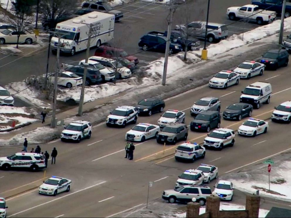 PHOTO: Heavy police presence seen outside an Extended Stay hotel in Rockford Ill., where an active shooter was reported on March 7, 2019